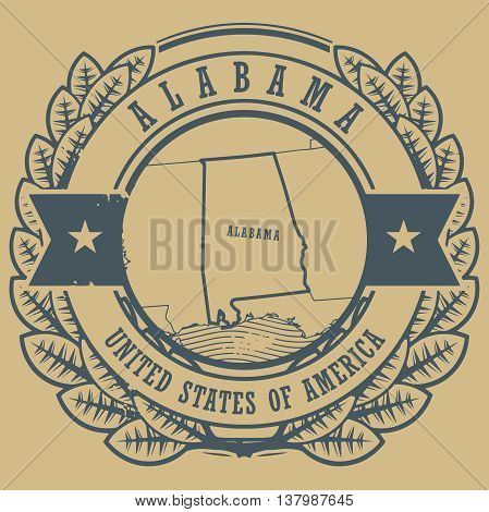 Grunge rubber stamp with name and map of Alabama, USA, vector illustration