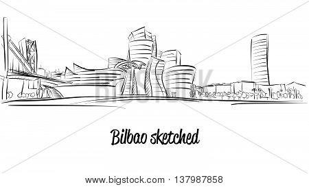 Bilbao Skyline, Hand Drawn Vector Artwork
