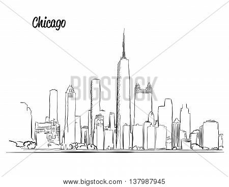Chicago Skyline, Hand Drawn Silhouette