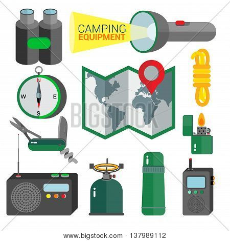 CAMPING Equipment for camping are displayed as a gadget collection on the white background.