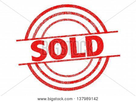 SOLD red Rubber Stamp over a white background.