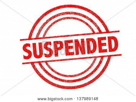 SUSPENDED Rubber Stamp over a white background.