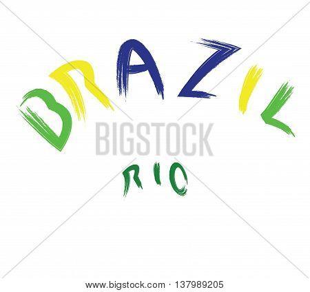 Brazil rio logo colored hand drawn text on white backdrop. Digital vector image
