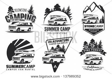 Set of monochrome camper van car logo emblems and badges isolated on white background. Recreational vehicle and camping design elements.