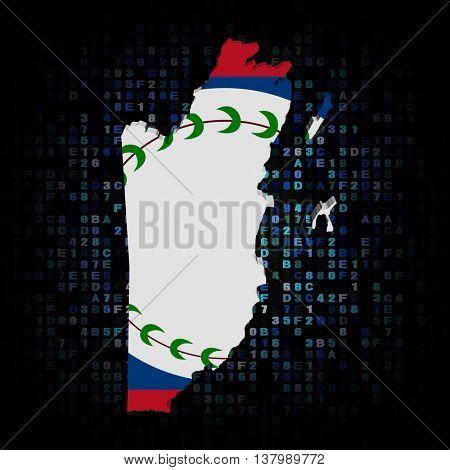 Belize map flag on hex code 3d illustration