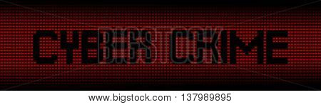 Cyber Crime text on red laptops background illustration