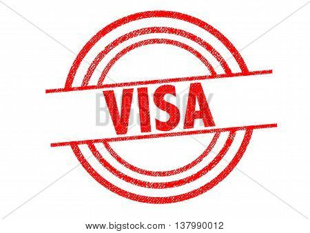 VISA Rubber Stamp over a white background.