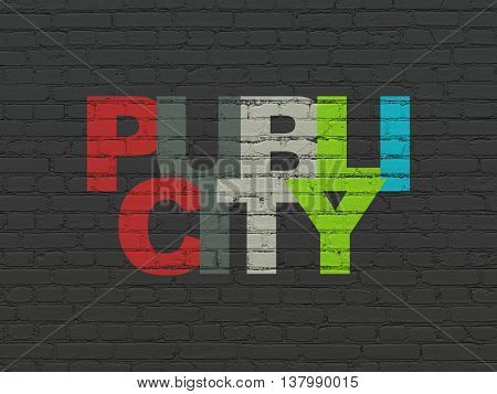 Marketing concept: Painted multicolor text Publicity on Black Brick wall background
