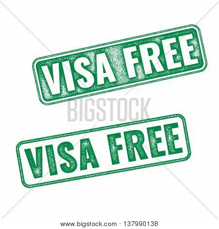 Visa Free Green Textured Vector Rubber Stamp