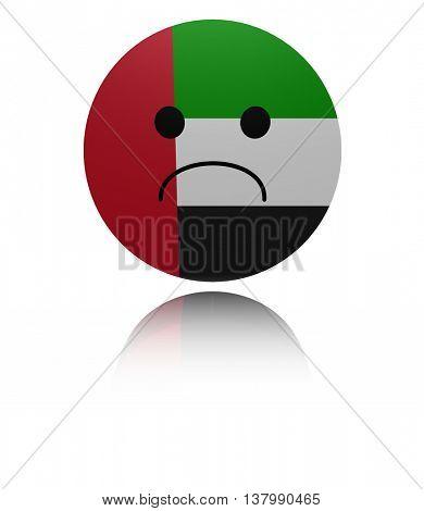 UAE sad icon with reflection 3d illustration