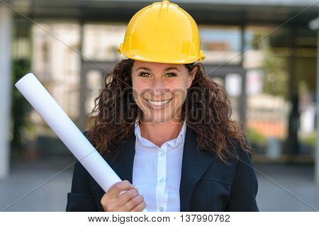 Grinning Confident Young Female Architect