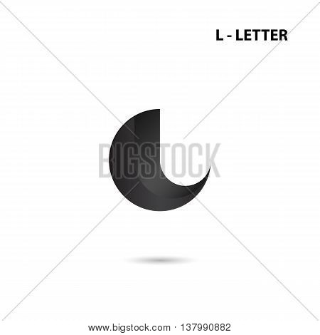 Black circle sign and Creative L-letter icon abstract logo design.L-alphabet symbol.Corporate business and industrial logotype symbol.Vector illustration