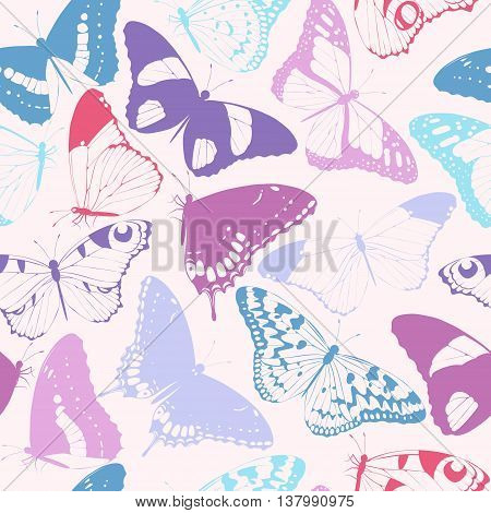 Varicolored detailed butterfly silhouettes vector seamless background