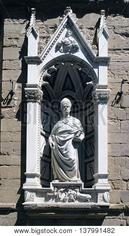 FLORENCE, ITALY - JUNE 05: Saint Eligius by Nanni di Banco, Orsanmichele Church in Florence, Tuscany, Italy, on June 05, 2015