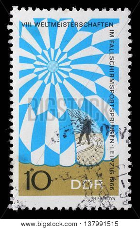 ZAGREB, CROATIA - JULY 02: GDR stamp dedicated to the World Championship in parachute jumping in Leipzig, circa 1966, on July 02, 2014, Zagreb, Croatia