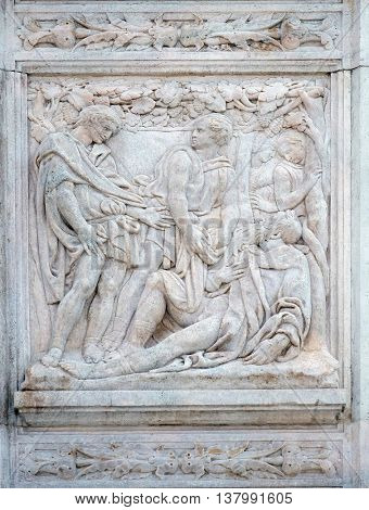 BOLOGNA, ITALY - JUNE 04: The Noah elation, relief on portal of Saint Petronius Basilica in Bologna, Italy, on June 04, 2015