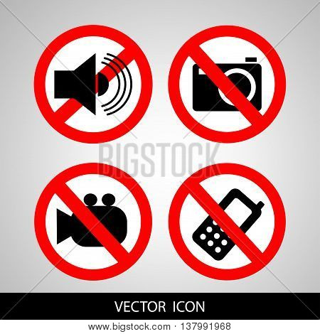 Set of icons forbidding. Do not call, do not take pictures, do not make noise.
