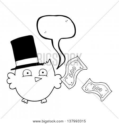 freehand drawn speech bubble cartoon wealthy little owl with top hat
