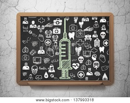 Medicine concept: Chalk Green Syringe icon on School board background with  Hand Drawn Medicine Icons, 3D Rendering
