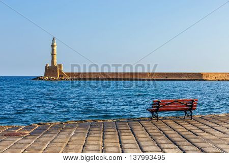 View of the old port and Lighthouse in Chania Crete Greece