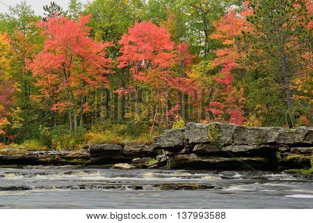 Fall Colors Along the Kettle River in Banning State Park near Sandstone Minnesota
