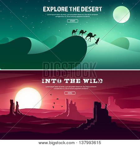 Desert trip. Extreme tourism and travelling. Back to nature. Sands.Exploring Africa. Horizont line with sky, stars. Mountaines, flying birds.Camels.