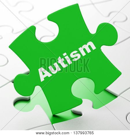 Health concept: Autism on Green puzzle pieces background, 3D rendering