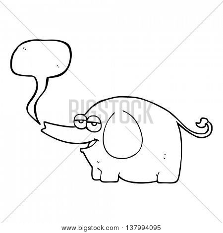 freehand drawn speech bubble cartoon elephant squirting water