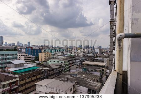 Bangkok Cityscape Business district with high building at sunshine day Bangkok Thailand