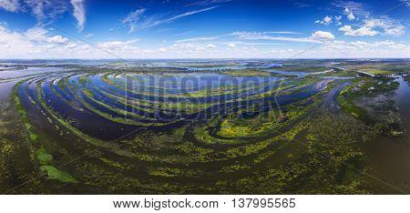 Aerial spherical panorama of the river of Belaya, Russia