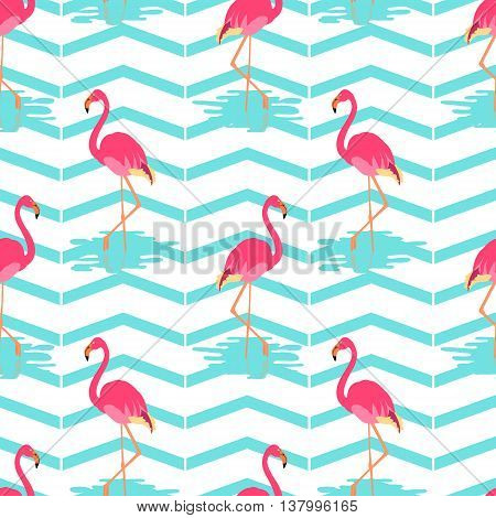 Flamingo summer seamless pattern on green striped background. Vector illustration of exotic birds. Flamingo bird symbol. Wildlife concept.