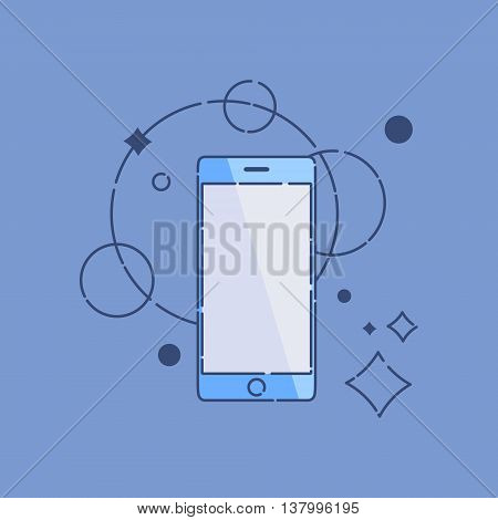 Smartphone outline icon on blue background. Mobile phone mock up. Perfect for application demo. Linear design. Isolated vector illustration.