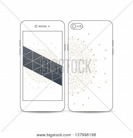 Mobile smartphone with an example of the screen and cover design isolated on white background. Polygonal backdrop with connecting dots and lines, golden mandala on white, connection structure.