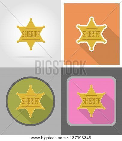 star sheriff wild west flat icons vector illustration isolated on background
