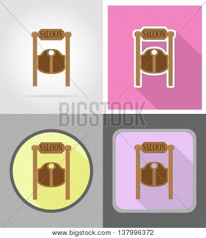 doors in western saloon wild west flat icons vector illustration isolated on background