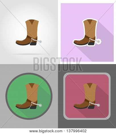 cowboy boots wild west flat icons vector illustration isolated on background