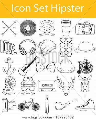 Drawn Doodle Lined Icon Set Hipster with 33 icons for the creative use in graphic design