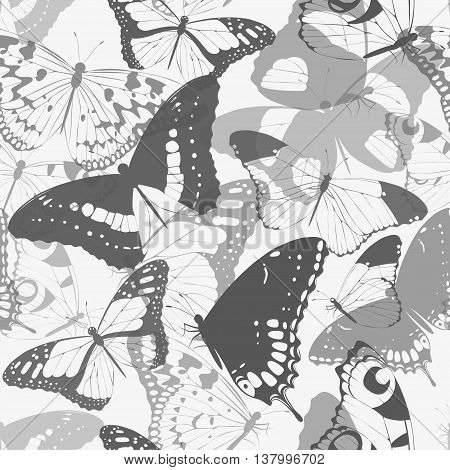 Monochrome detailed butterfly silhouettes vector seamless background