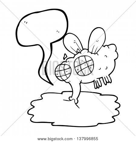 freehand drawn speech bubble cartoon gross fly