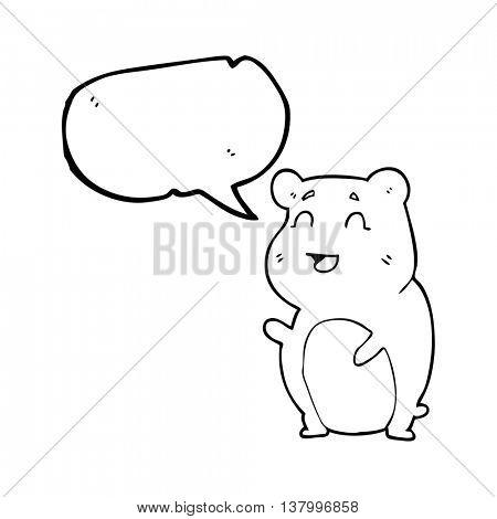 freehand drawn speech bubble cartoon cute hamster