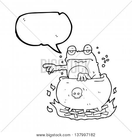 freehand drawn speech bubble cartoon halloween toad