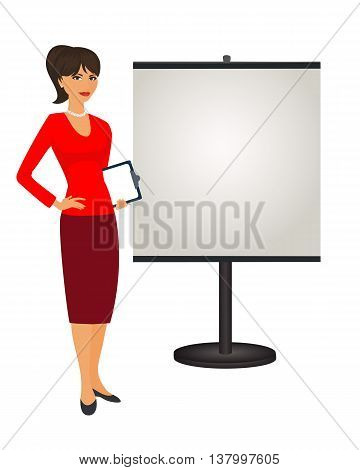 PR specialist is standing next to the stand. Isolated vector illustration political strategist on white background . Stand attendant coordinator PR Manager and etc. Vertical location.