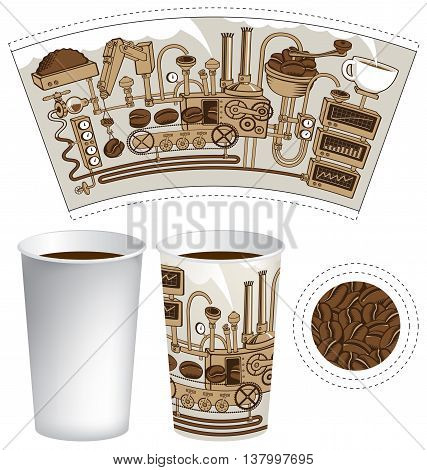 paper cup for tea or coffee with coffee machine with mechanisms in retro style