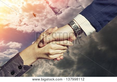 Photo which shows a handshake of two persons on a sky background with a flying bird