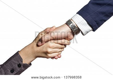 Photo which shows a handshake of two persons isolated on white
