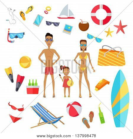 Accessories for summer holidays design flat. Ball for beach volleyball, life buoy and flip-flops, sunglasses and inflatable ice cream isolated on white background. Vector illustration. Family at beach