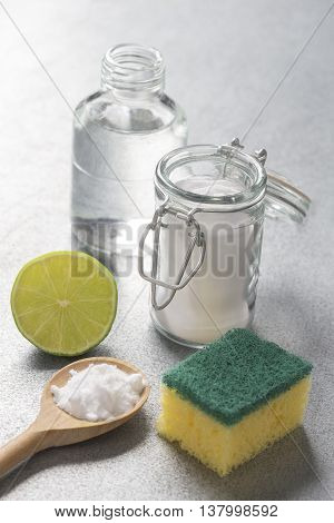 Natural cleaning tools lime and sodium bicarbonate for house keeping