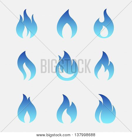 Gas flames vector icons isolated from the background. Sign set blue burning natural gas in the flat style. Simple icons fire teardrop shape.