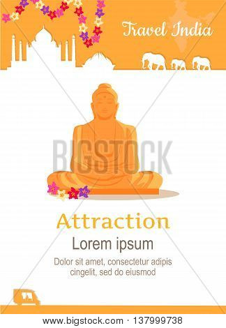 Travel India conceptual poster in flat style design. Summer vacation in exotic countries concept. Journey to India vector template. Attraction of India spiritual centres illustration.