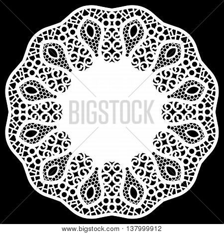 Lace round paper doily greeting element package doily - a template for cutting lace pattern decorative flower vector illustrations